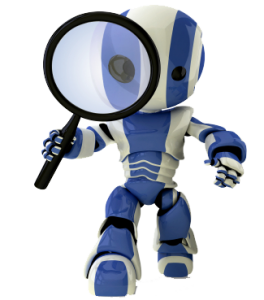 blue robbot magnifies left 264x300 Small Business Web Design To Help Your Small Business Grow