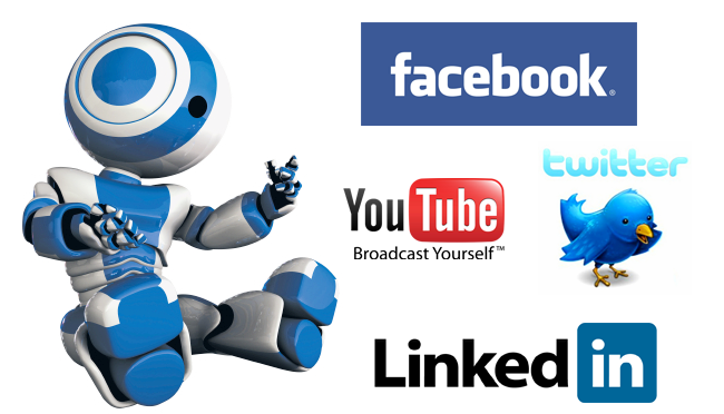 blue robbot sits right social networks Social Networks