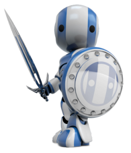 blue sword and shield robbot facing left 257x300 Small Business Web Design To Help Your Small Business Grow
