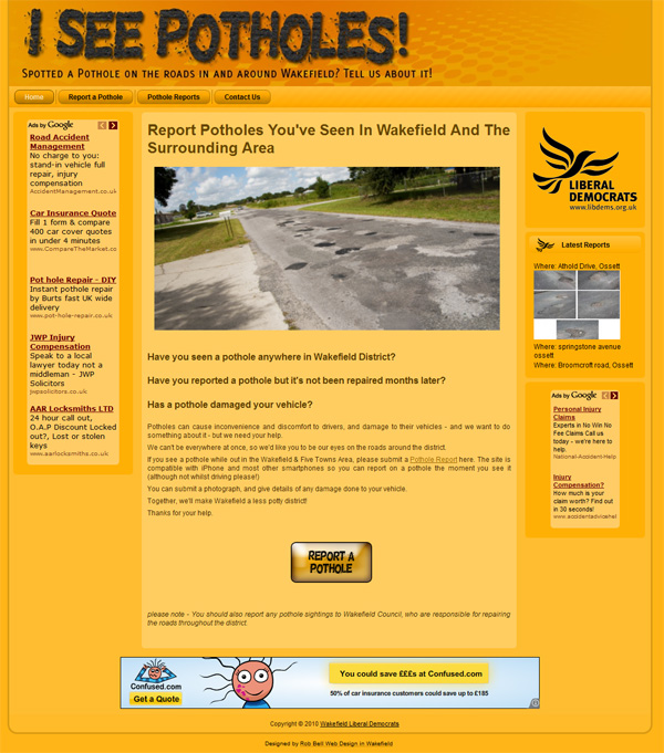 Built by Rob Bell Web Design - I See Potholes